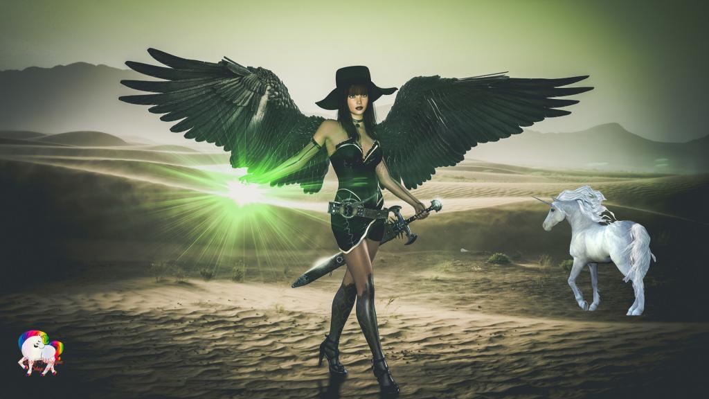 Dans un désert magique et fantastique un ange noir armé d'une épée en compagnie de sa licorne blanche