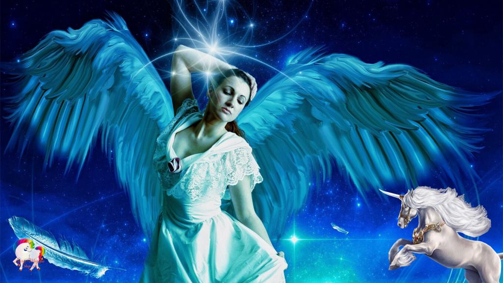 Un saint ange blanc avec sa licorne blanche dans un univers magique et fantastique
