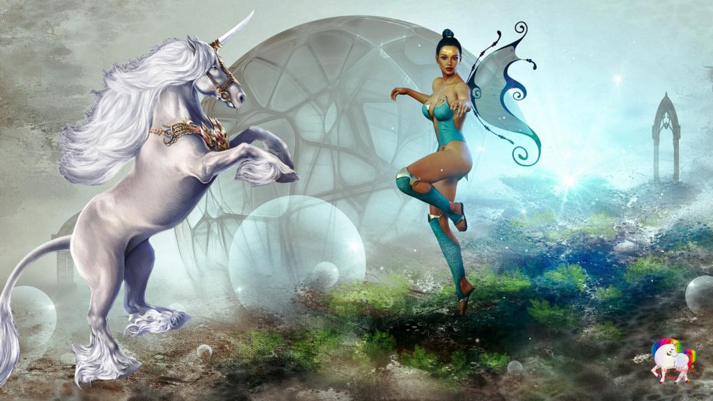 Dans un univers magique une licorne blanche en compagnie de sa fée