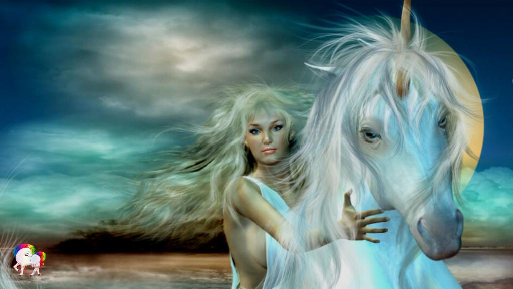 Le grand amour entre une licorne blanche et une jeune vierge dans un monde magique et fantastique
