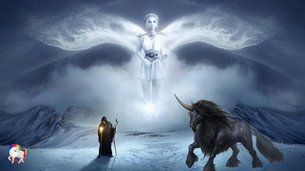 Un ange blanc survole un sorcier en compagnie de sa licorne noire