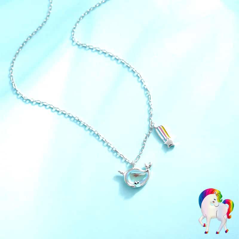 Collier arc-en-ciel de licorne