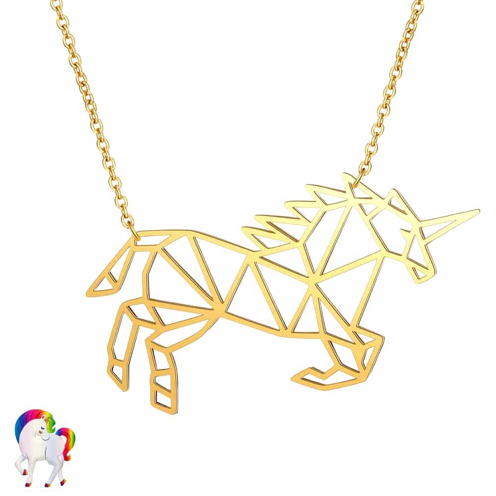 Collier licorne origami couleur or vu de prêt