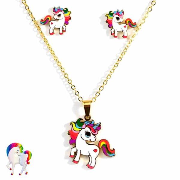 Ensemble de boucles d'oreilles collier licorne colorée