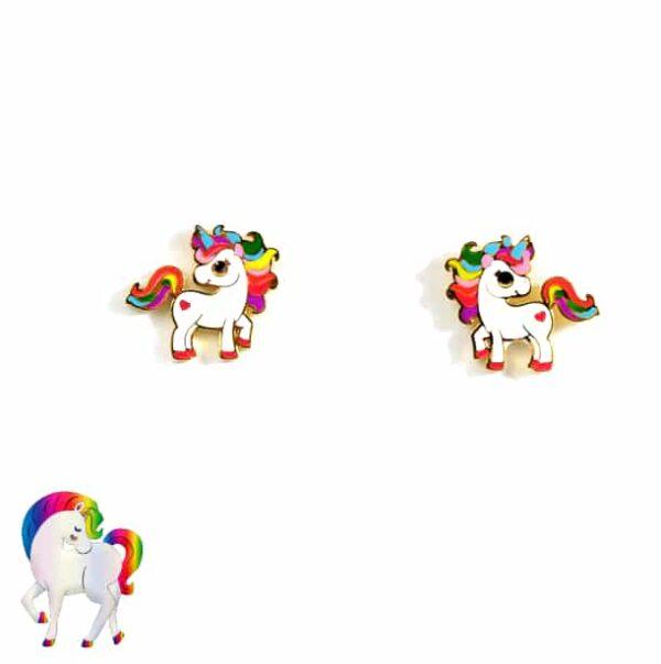 Ensemble de boucles d'oreilles licorne colorée