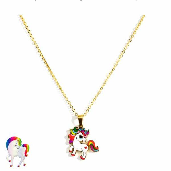 Ensemble collier licorne colorée