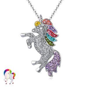 Parure de Bijoux Licorne arc-en-ciel - COLLIER EN ARGENT