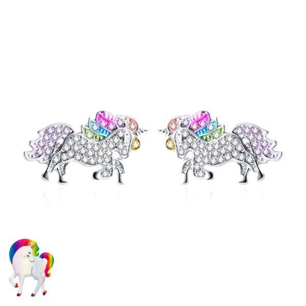 Parure de Bijoux Licorne arc-en-ciel - BOUCLES D'OREILLES EN ARGENT
