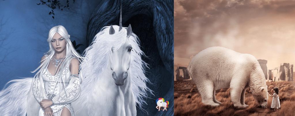 Licorne blanche avec une jeune fille qui se tient devant elle, Ours blancs en compagnie d'une petite fille qui le caresse dans un désert.