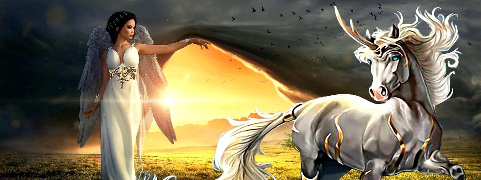 La Licorne Dans la religion avec un ange